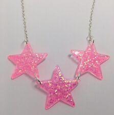 Bubblegum Pink 3 Large Star Glitter Charms Holo Necklace E025 Glitter