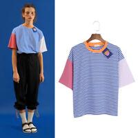 Cartoon Stripe Patchwork Women T-shirt Summer Short Sleeve Casual Tops Fashion