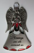 ddd Blessings are around Stained glass Nativity ANGEL Christmas ORNAMENT Ganz