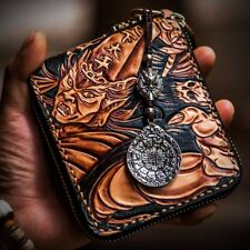 Handmade Mens Genuine Leather Clutch Wrist Chain Wallet Purse Card Case Wallets