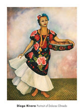 LATIN ART PRINT - Portrait of Dolores Olmedo by Diego Rivera 24x18 Poster