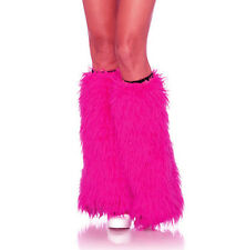 Neon Hot Pink Furry Sexy Leg Warmers Adult Rave Halloween Costume Accessory 18""