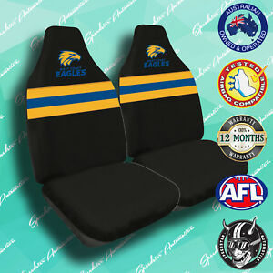 NEW! WEST COAST EAGLES FRONT CAR SEAT COVERS, OFFICIAL AFL, AIRBAG COMPATIBLE