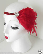 Vintage Red Feather Head Piece Headband 1920s Burlesque Great Gatsby Silver k58