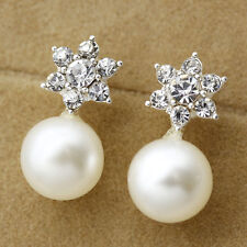 Mini Crystal Snowflake CZ Pearl Alloy Pretty Women Clip-On Stud Earrings Jewelry