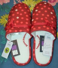 WOMENS M&S POLKA DOT MULE SLIPPERS WITH SECRET SUPPORT SIZE 9 RED MIX - BNWT