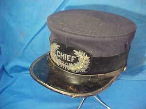 Orig 1880s POLICE CHIEF Visor CAP w BULLION BADGE On Front