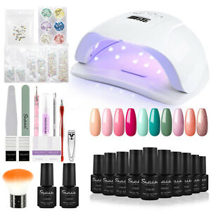 Pro UV Gel Nail Polish Manicure Kit Soak off 80W LED Lamp Builder Art Set Gift