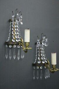 Pair antique gilt bronze crystal French Louis XVI ormolu wall lights sconces
