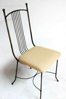 Vintage Retro Modern Metal Chair, Upholstered Seat [6230]