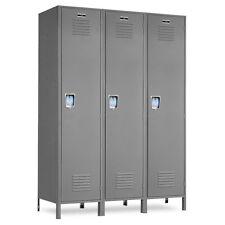"""Wide Gray Metal School Lockers 45""""W X 18""""D X 72""""H-78""""H W/Legs - 3 openings"""