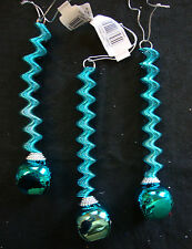 3 x Turquoise Blue Shiny Christmas Spring Drop Jingle Bell Hanging Decorations