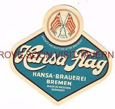 Germany 1950s Hansa Flag Beer label Tavern Trove Bremen