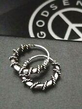 Mens 925 Sterling Silver Twisted Bali Wire Sleeper Hoop Earrings + Gift Box