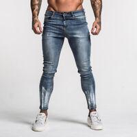 GINGTTO Men Skinny Jeans Washed Denim Super Stretch Slim Fit Blue Biker Pants