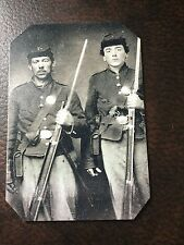 2 Civil War Military Soldiers With Rifles TinType C210RP