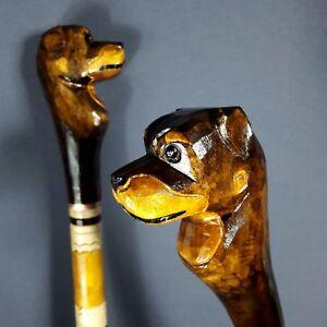 Rottweiler Hand Carvin Cane Walking Stick Wooden Unique Handmade Eco