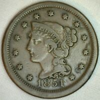 1851 Braided Hair Large Cent Copper US Type Coin Very Fine Genuine Penny VF K27