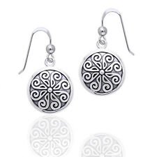 Viking Shield Nordic Spiral Sterling Silver Hook Earrings