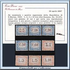 1926 San Marino Segnatasse Serie completa n. 19/27 Cert. Diena Nuovi Integri **