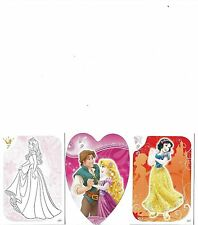 TOPPS DISNEY PRINCESS 2013 PICK GLITTER COLOUR ME AND HEART SHAPED CARDS MINT