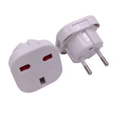 Power Travel Universal UK To EU Euro Plug White Charger Adapter Converter Plug