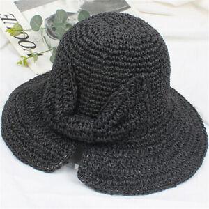 Women Fashion Foldable Ladies Summer Straw Hats Beach Sun Hat Brimmed UK