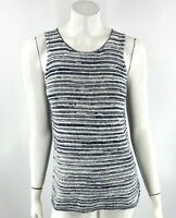 Lucky Brand Tank Top Sz XS Navy Blue White Striped Mixed Media Crepe Back Womens