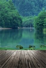 Mountains Lake Wooden Floor Photography Backgrounds 5x7ft Vinyl Photo Backdrops