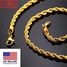 18K 3MM Gold Plated ROPE CHAIN Bracelet Necklace Men Women 18