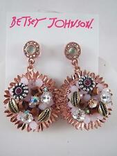 Betsey Johnson rose gold tone leaf/flower bead crystal cluster drop earrings,NWT