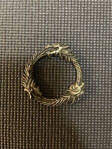 New - Elder Scrolls Metal Medallion Online Ouroboros Symbol Promo Ring