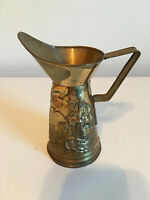 Vintage Peerage Brass Embossed Nautical Scene Pitcher Made In England
