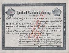 Hubbard Banking Company Stock Certificate 1920s Hubbard Ohio Trumbull County