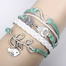 Owl Hot Infinity Love Anchor Leather Cute Charm Bracelet plated Silver SL146D