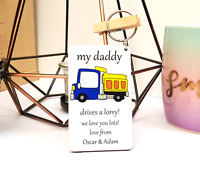 Personalised Wooden Keyring, Lorry Driver Daddy Dad Grandad Gifts Fathers day