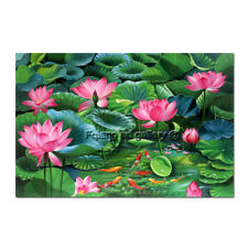 Original Lotus Flower Koi Fish OIL Painting Wall Art Home Decor Hand Painted