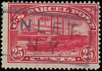 """VEGAS - 1913 Sc# QE9 - """"Manufacturing"""" Parcel Post 25c -Posted Inlet, NY (FA18)"""