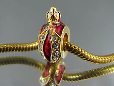 STUNNING BURGUNDY RED FABERGE EGG BEADS FOR EURO STYLE CHARM BRACELETS (FAB 100)