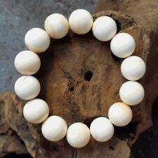 Rare 15,5 MM Genuine Horned Helmet Shell Bracelet Cassis Cornuta 14 Beads #KM2