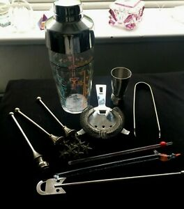 Set Of 10  Cocktail Shaker, Strainer, Twizzle Sticks, One Merino Glass Ect