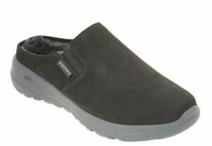 Skechers GoWalk On The Go Joy Snuggly Water Repellant Suede Clogs Charcoal Shoes