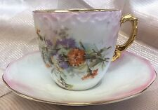 PORCELAIN   MUSTACHE CUP MUG AND SAUCER FLOWERS GILT