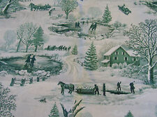 GREEN VINTAGE WINTER CHRISTMAS TOILE BY SPRINGS GLITTER 100% Cotton Fabric HY