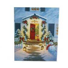 Christmas Front Porch Lighted House Christmas Canvas mm 3311354 NEW RAZ