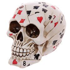 Skull Of Playing Card Poker Face Resin Carved White Gothic Skeleton Halloween