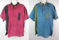 Handmade Half Sleeve Collarless Boho Casual Cotton Shirt Top Kurta Pirate HS2
