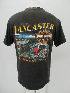 M0934 VTG Harley Davidson Motorcycle Biker Lancaster T-Shirt Made in USA Size L