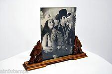 CADRE à PHOTO ancien ART DECO bois sculpté OISEAUX verre biseauté photo 24x18 cm