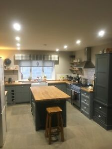 Solid Pine Bespoke Designed Freestanding Shaker Style Kitchen.